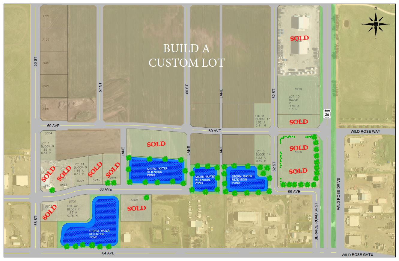Taber's Eureka Industrial Park Map with sold signs