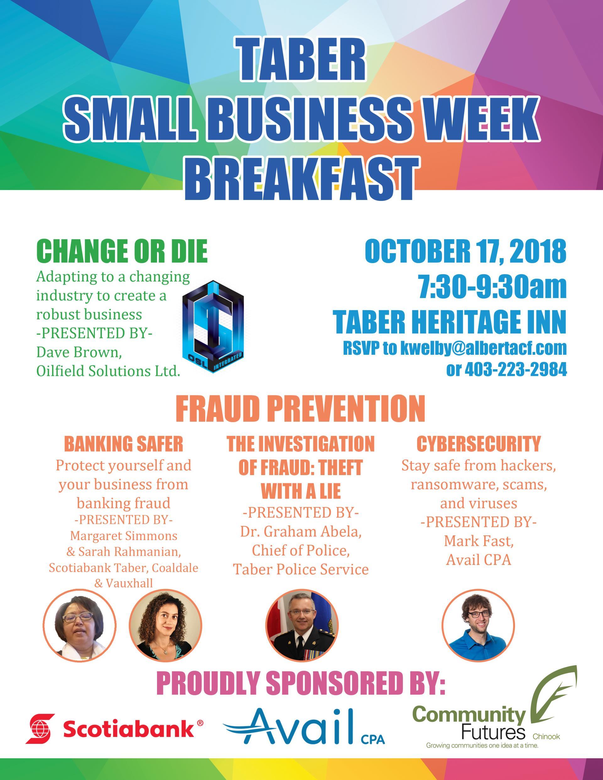 Taber Small Business Week Breakfast   Calendar Meeting List   Town ...