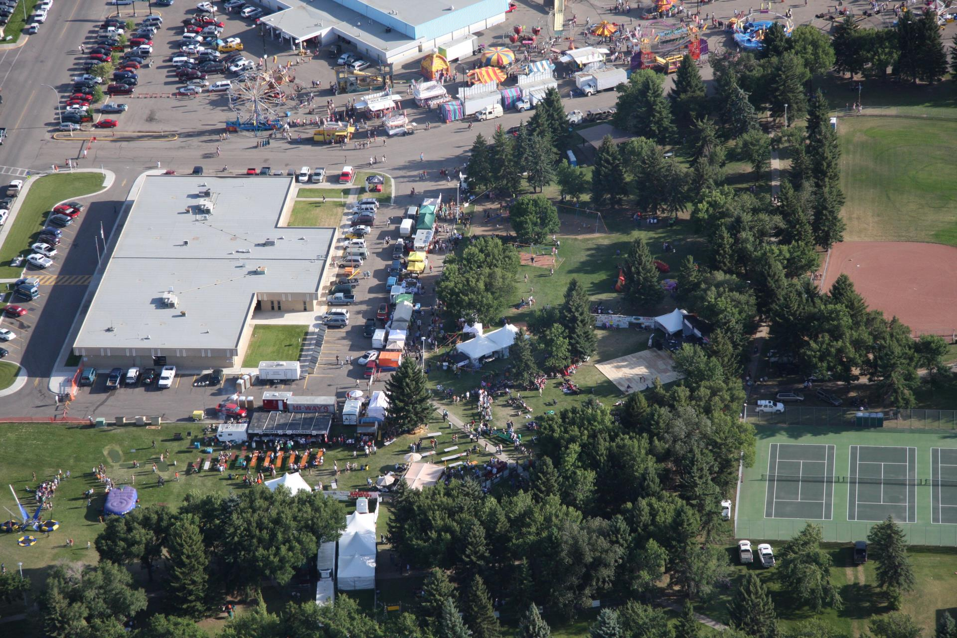 Busy Aerial View of Cornfest