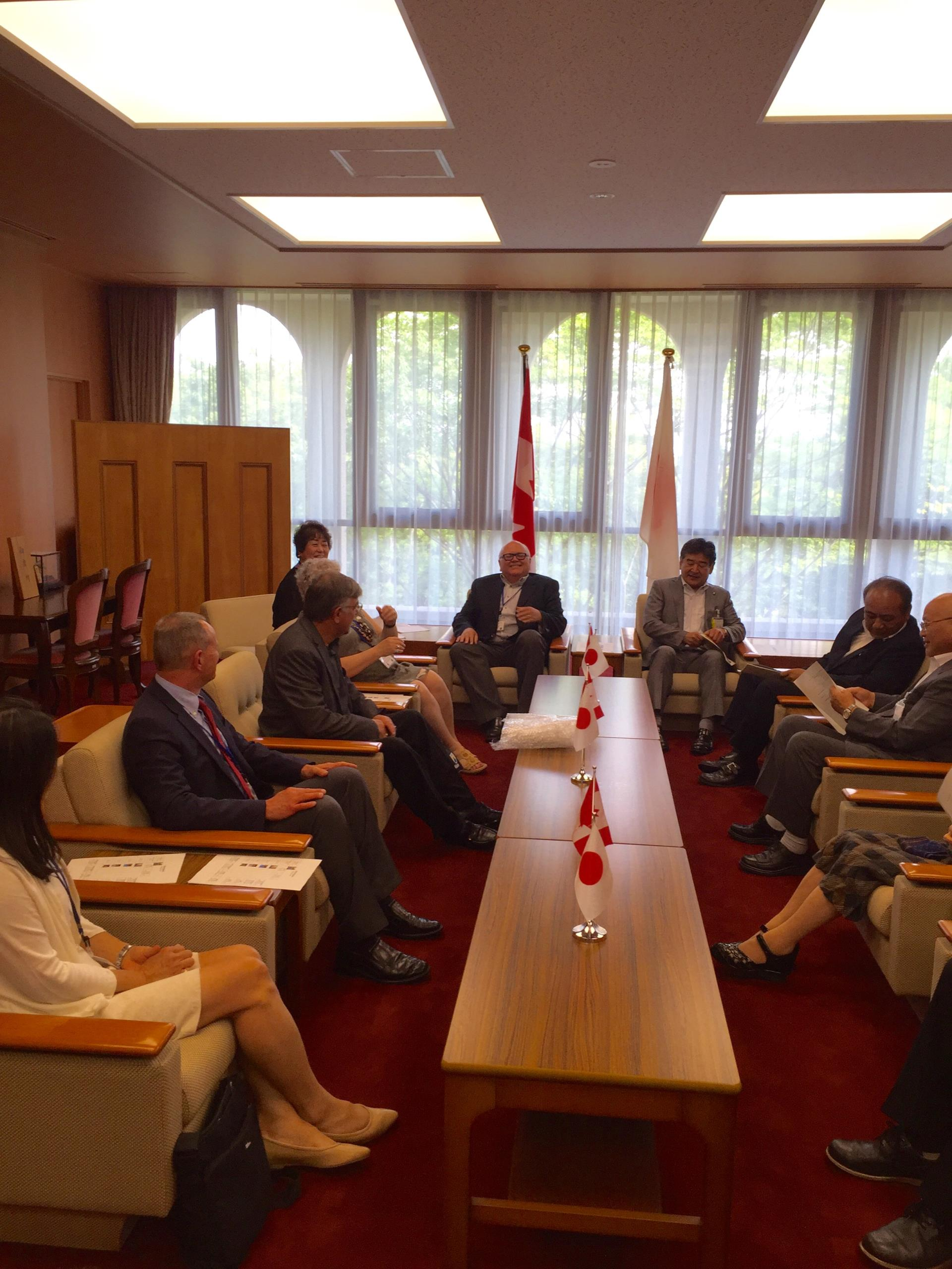 A Very Special Meeting - The 2016 Taber Delegates meet with local officials in Higashiomi