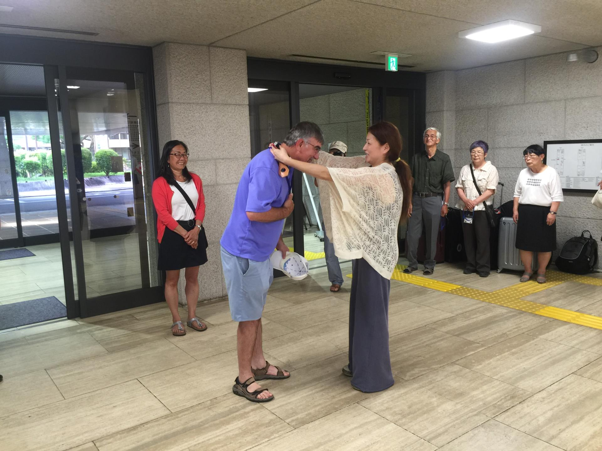 Welcome to Japan - Councillor Strojwas receives a warm welcome in 2016 as a delegate from the Town of Taber