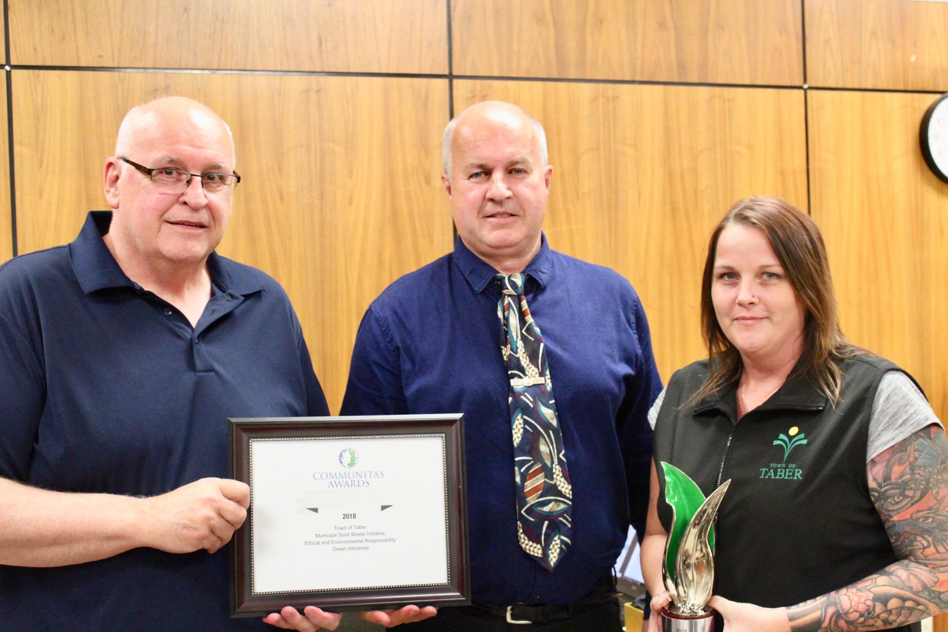 Director of Public Works Gary Scherer and Public Works Administrative Supervisor Lisa DeBona with Mayor Prokop- Communitas Awards