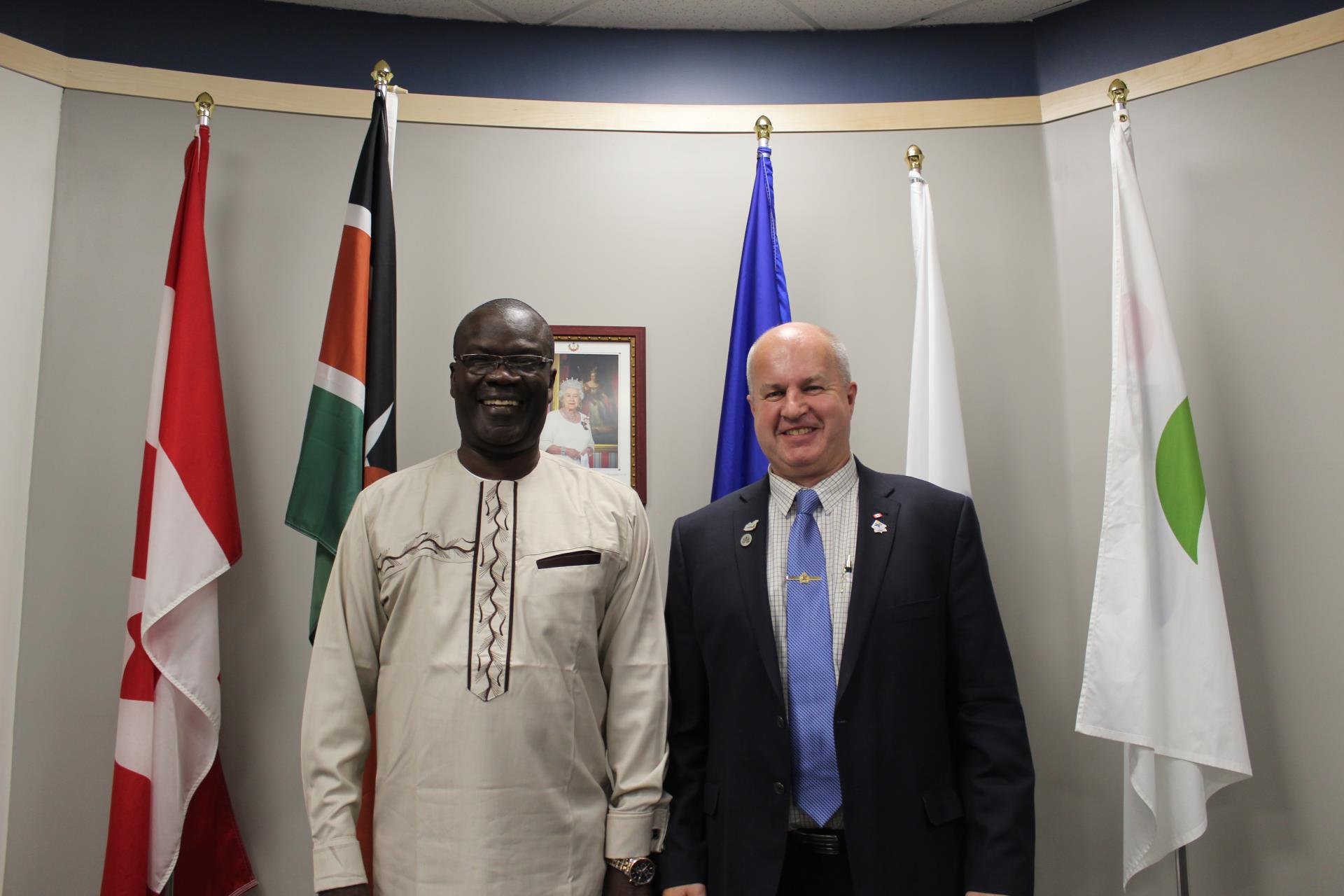 Mayor Prokop and Governor Cornel Rasanga at the September 24, 2018 Council Meeting