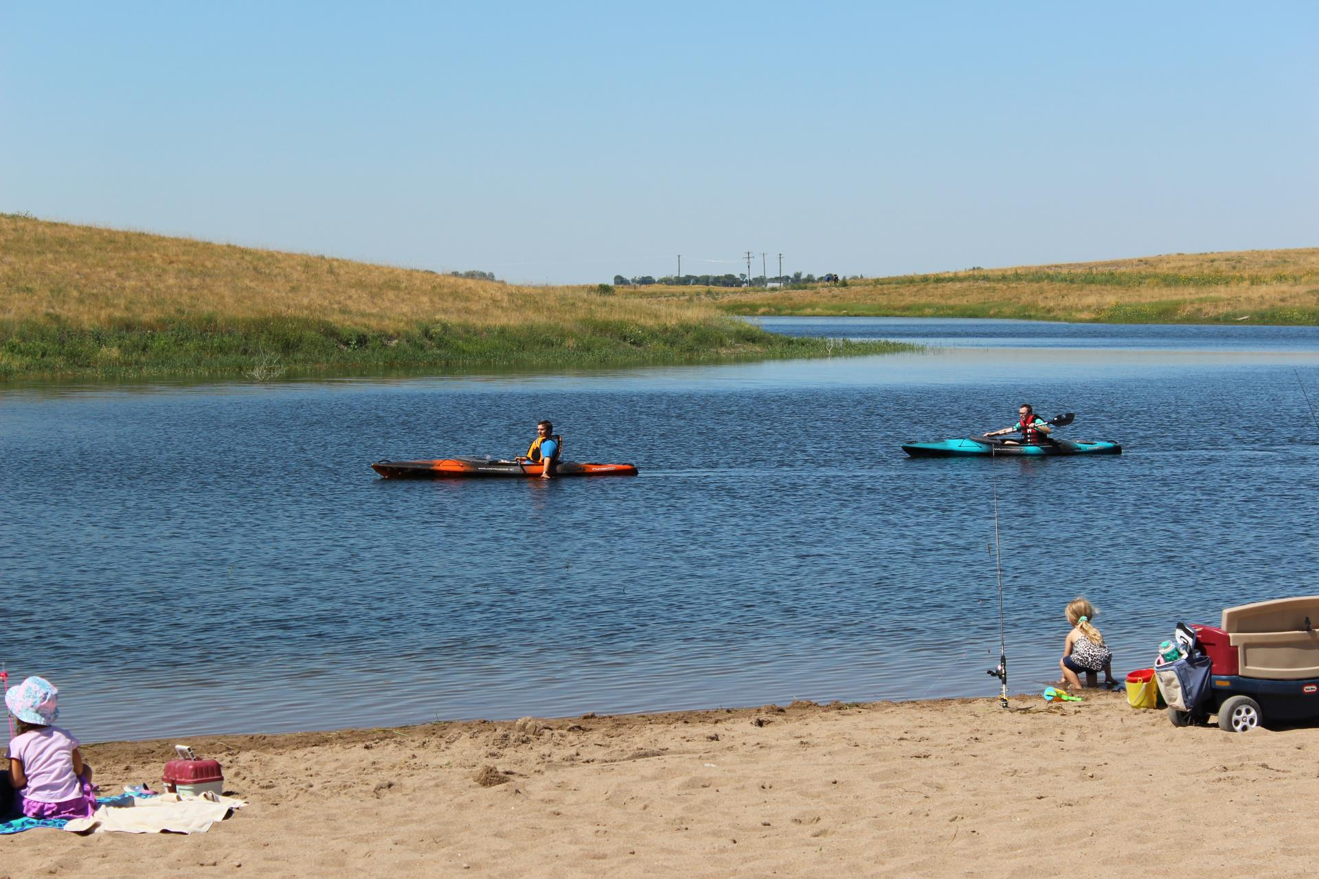 Kayaks and Beach at the Taber Trout Pond 2018