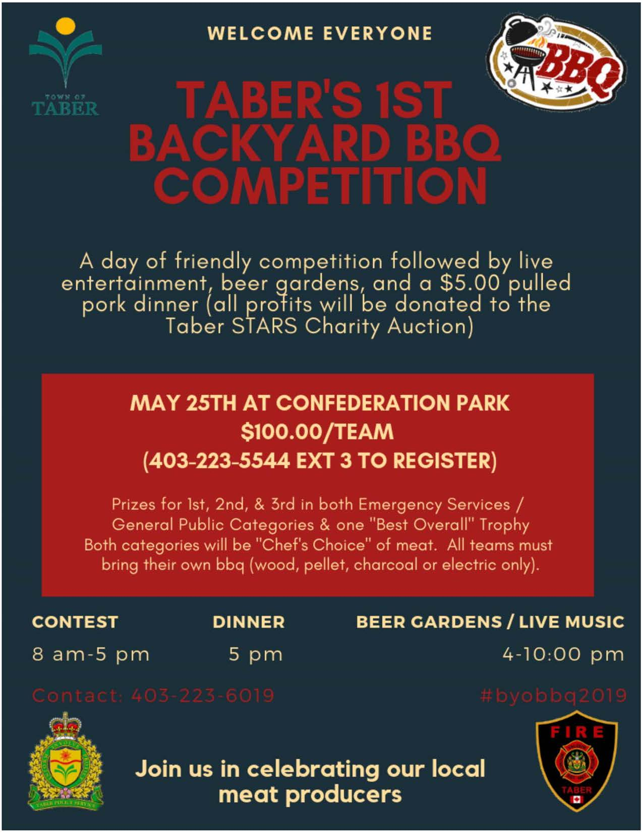 2019 Taber's Backyard BBQ Competition poster