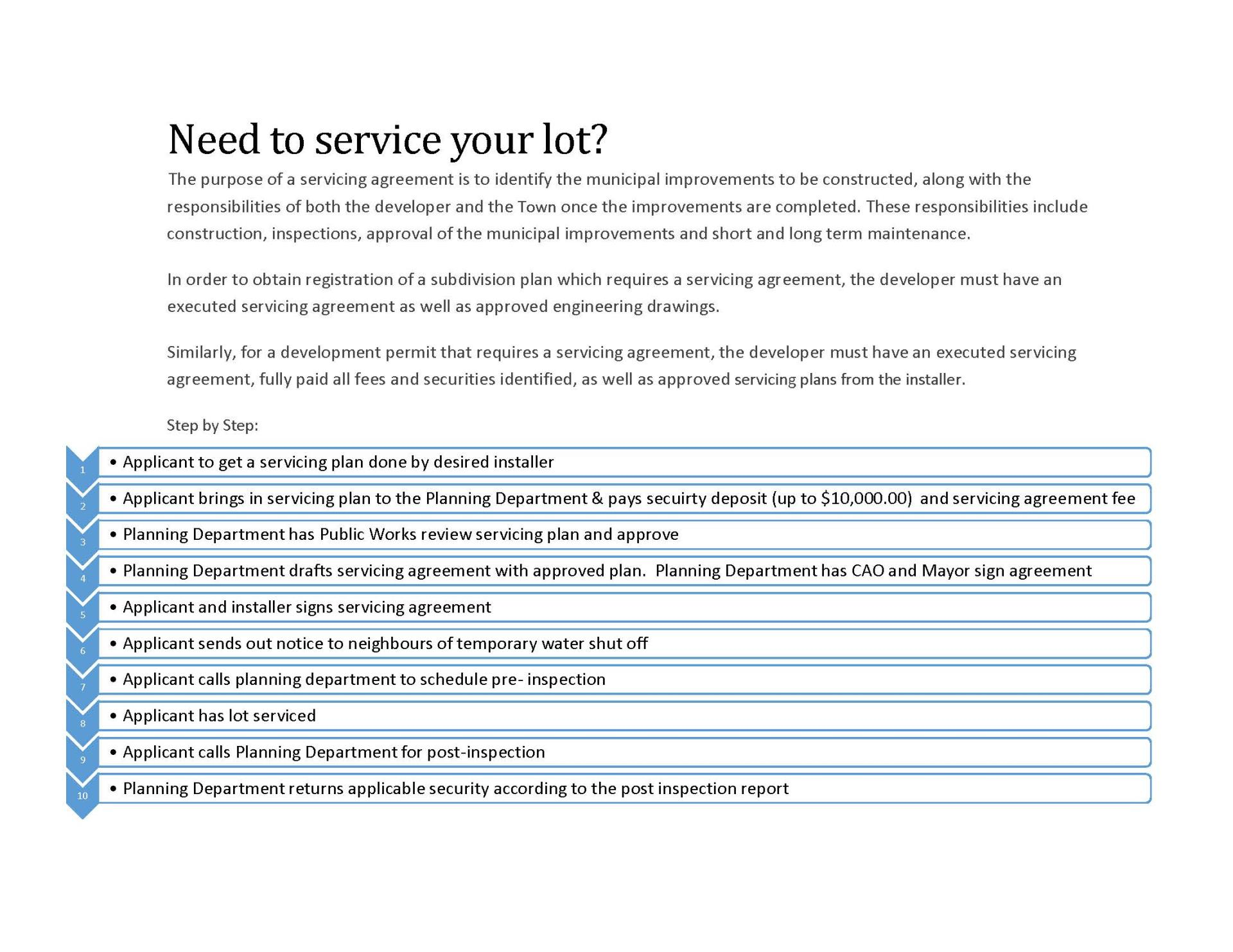 Need to service your lot step-by-step chart