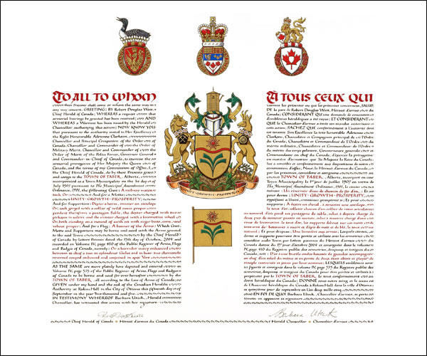 The Letters Patent of the Arms of the Town of Taber, Alberta.  The arms, banner and symbols of authority are hand painted and the calligraphy is hand written.